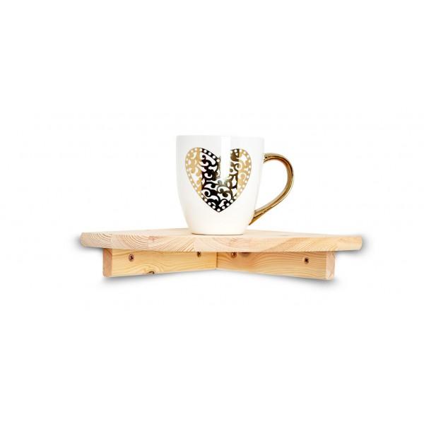 Półka drewniana narożna 22x22 cm