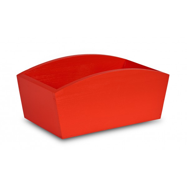 Doniczka drewniana 24x13x10,5 cm Czerwona