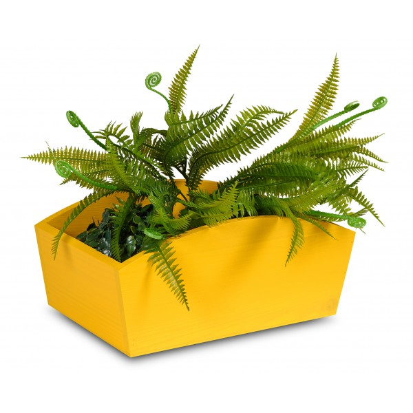 Doniczka drewniana 24x13x10,5 cm Żółta