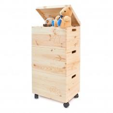 Trio z motywem drewniane 39x30x74 cm Natural wood