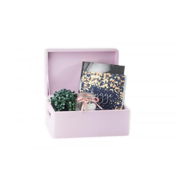 Skrzynka drewniana z deklem 30x20x13,5 cm Różowa
