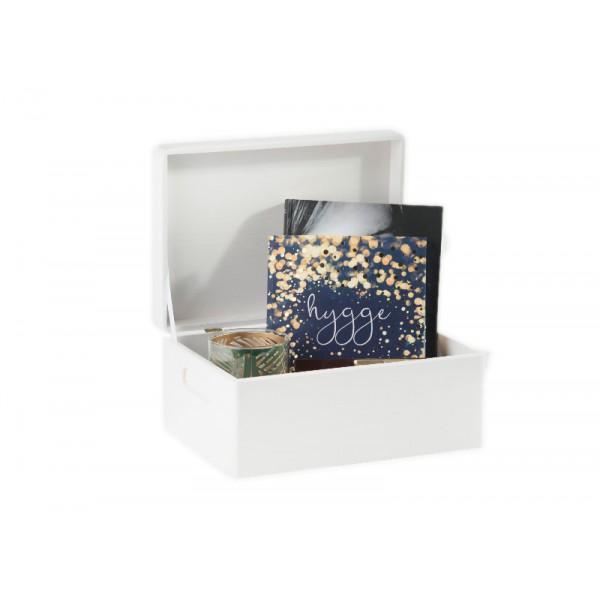 Skrzynka drewniana z deklem 25x16x11,5 cm Biała