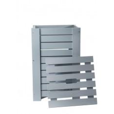 Kosz na bieliznę drewniany 35x25x55 cm Silver grey