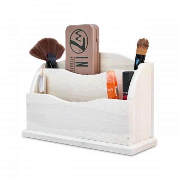 Przybornik drewniany 27x8x16,5 cm Biały