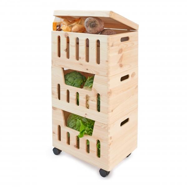 Trio z wybraniami drewniane 39x30x74 cm