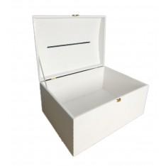 Kuferek drewniany 35x25x18,5 cm z nacięciem na koperty Biały