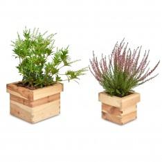 Doniczka kwadrat drewniana Natural wood 14x14x12 cm