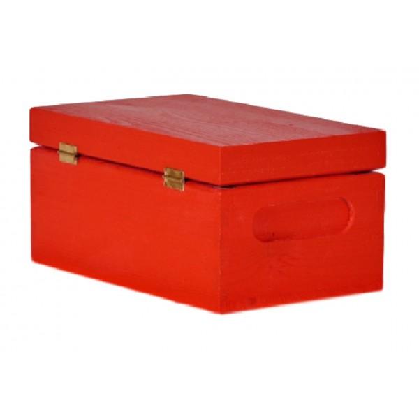 Skrzynka drewniana z deklem 21x12x9,5 cm Czerwona