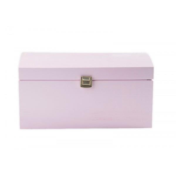 Kuferek drewniany 35x25x18,5 cm Różowy