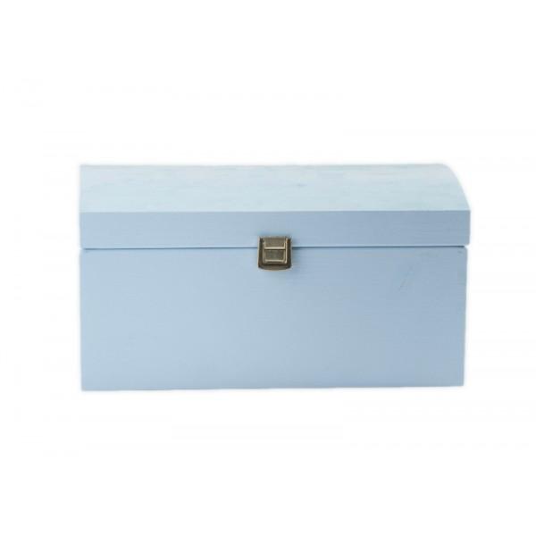 Kuferek drewniany 35x25x18,5 cm Niebieski